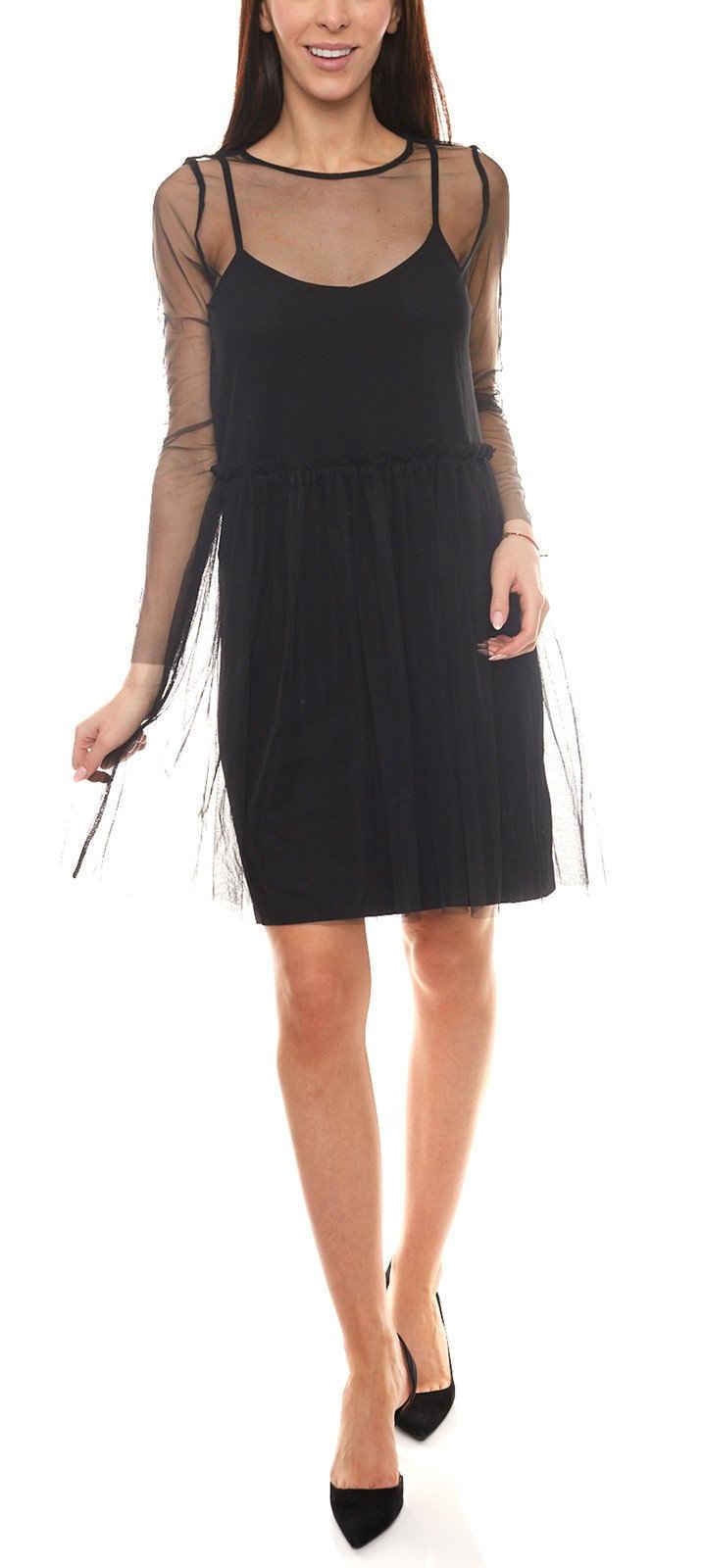 minimum Minikleid »minimum Mini-Kleid teilweise transparentes Damen Kleid im Lagen-Look Freizeit-Kleid Schwarz«