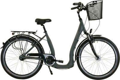 HAWK Bikes Cityrad »HAWK City Comfort Deluxe Plus Grey«, 7 Gang Shimano Nexus Schaltwerk