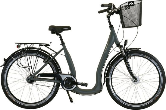 HAWK Bikes Cityrad »HAWK City Comfort Deluxe Plus Grey«, 7 Gang Shimano Nexus Schaltwerk