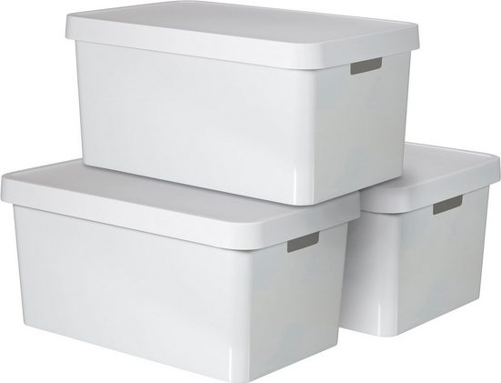 Curver Aufbewahrungsbox »INFINITY« (Set, 3 Stück), stapelbar, 45 Liter, weiß