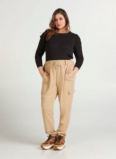 Zizzi Stoffhose Große Größen Damen Hose mit lockerer Passform und großen Taschen