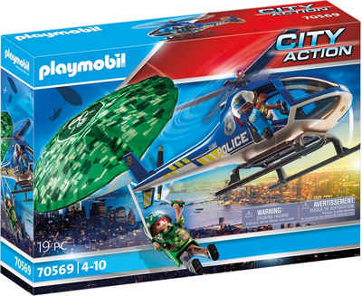 Playmobil® Konstruktions-Spielset »Polizei-Hubschrauber: Fallschirm-Verfolgung (70569), City Action«, (19 St), Made in Germany