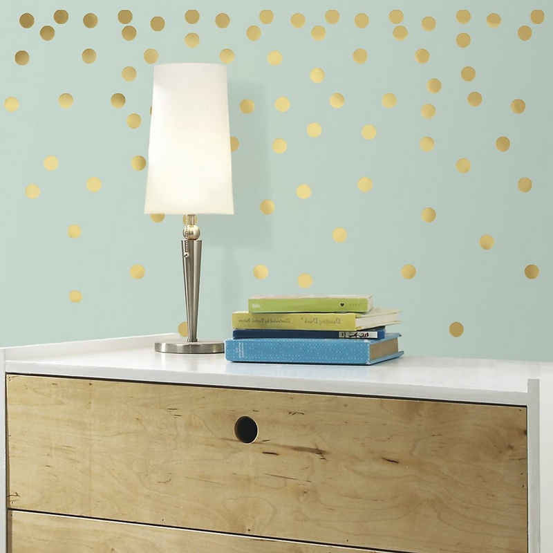 RoomMates Wandsticker »Wandsticker goldfarbiges Konfetti, 90-tlg.«