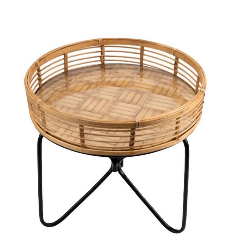 Cosy Home Ideas Beistelltisch »Beistelltisch rund Rattan Glasplatte Metall« (1 Stück, 1x Beistelltisch), Tischplatte Bambus mit eingelegter Glasplatte
