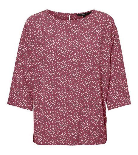 Vero Moda Blusentop »VERO MODA Lilja Bluse gepunktete Damen 3/4-Arm Jersey-Bluse Freizeit-Bluse Rot«