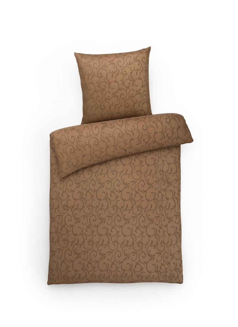 Bettwäsche »Elegante Mako-Damast Bettwäsche, hochwertiger Bettbezug mit elegantem Muster«, Carpe Sonno, Edle Damast Bettgarnitur mit Reißverschluss aus reiner Baumwolle, mit Glanz-Effekt, seidig weich und angenehm auf der Haut, atmungsaktiv, Ganzjahresbettwäsche in Premium Qualität, Ornamente, Made in Germany
