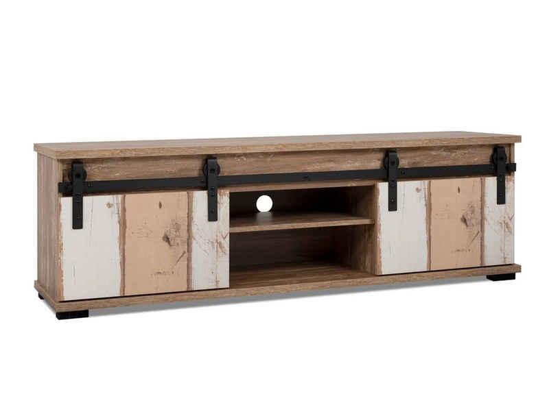 expendio TV-Board »Malik 56A«, Valhalla Eiche / Milford Kiefer 160x50x40 cm mit drehbaren Schiebetüren