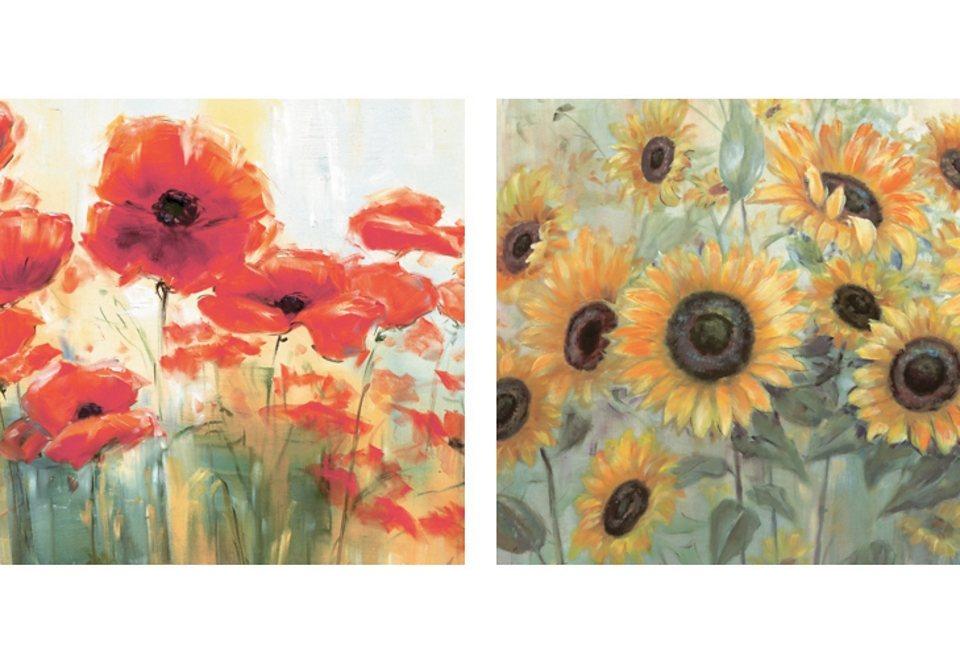Home affaire SET: Wandbild-Set »Mohn- und Sonnenblumen«, Größe: je 29 x 29 cm (2tlg.) in rot