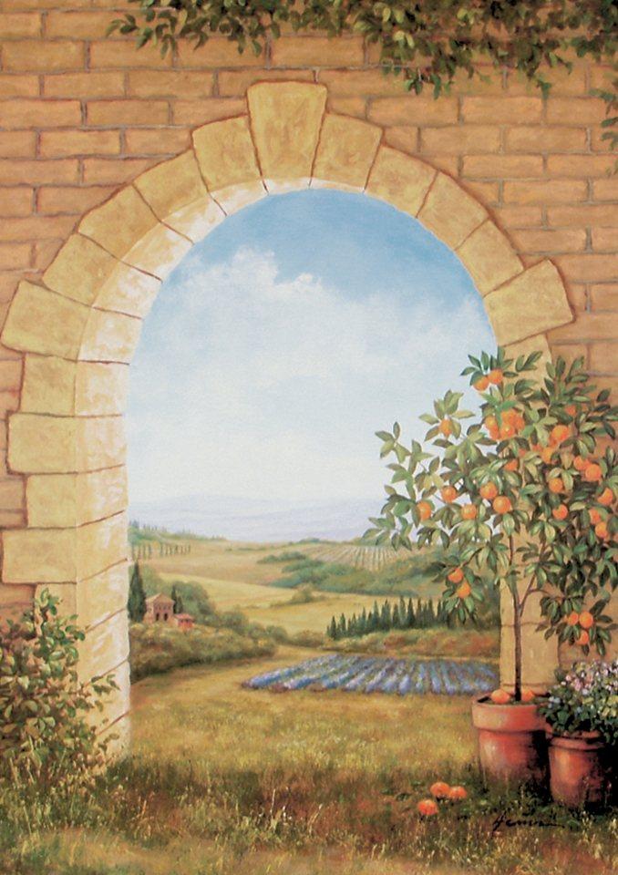 Home affaire, Wandbild, »Orangenbaum vor'm Torbogen«, 58/79 cm in grün