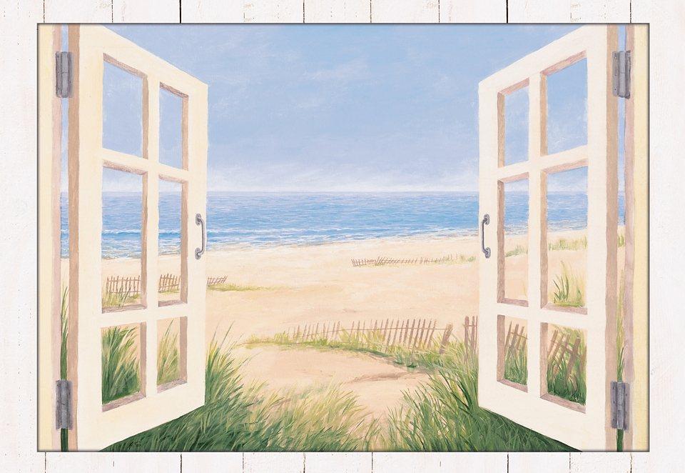 Home affaire Wandbild mit Designer-Rahmen »Spring Day Morning«, Größe: 112,4/82,4 cm in natur
