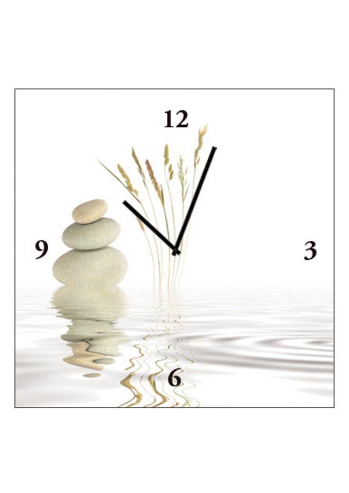 Home affaire Wanduhr auf Leinwand »Zen Peace«, Größe: 30 x 30 cm in weiß