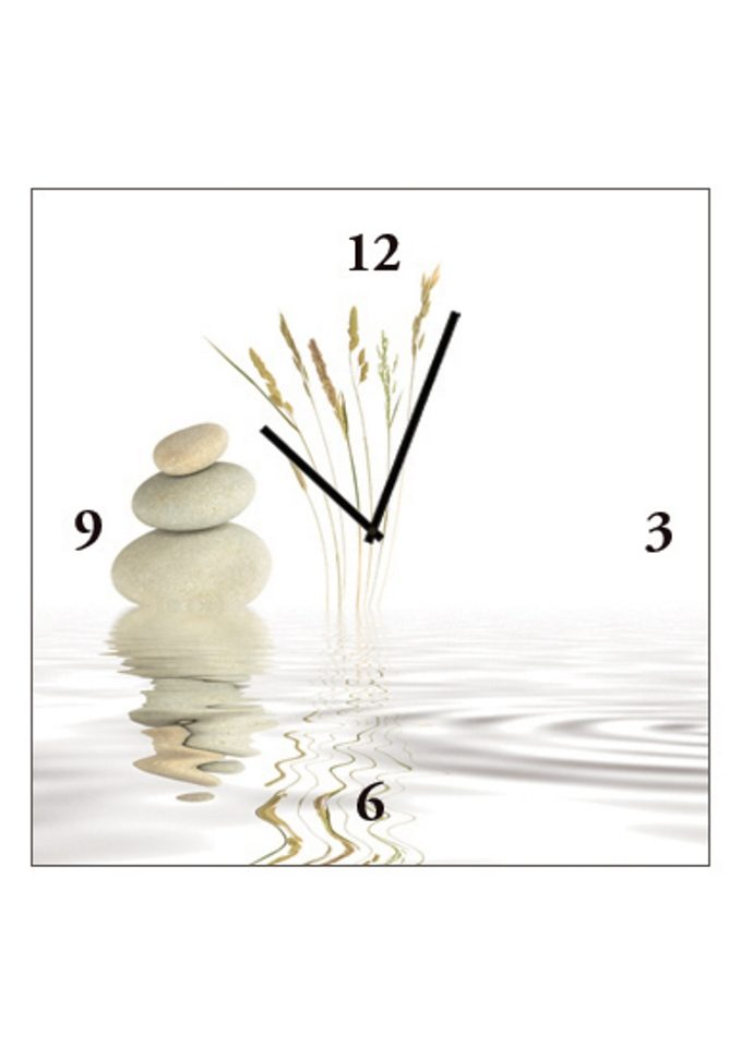 Home affaire, Wanduhr auf Leinwand »Zen Peace«, 30/30 cm