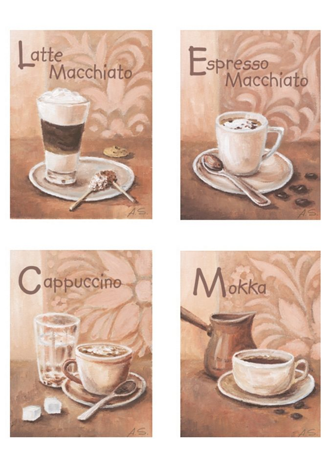 Home affaire Wandbild »Kaffeevariationen I«, (Set), 4x 17/23 cm