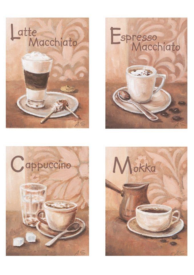 Home affaire SET: Wandbild-Set »Kaffeevariationen I«, Größe: je 17 x 23 cm (4tlg.)