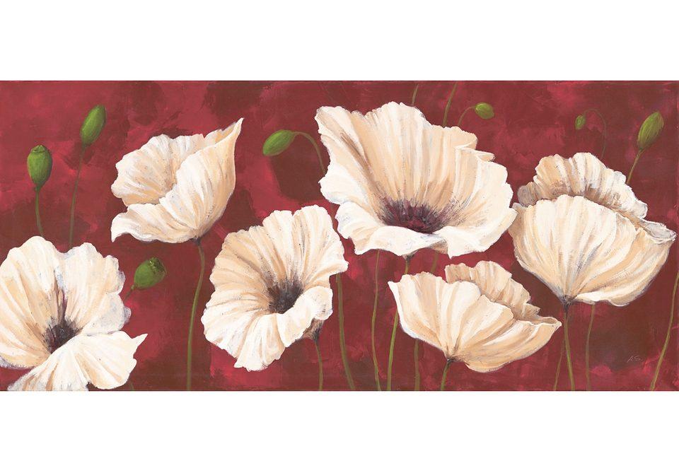 Home affaire Wandbild auf Leinwand »White Poppies on Red«, Größe: 110 x 50 cm