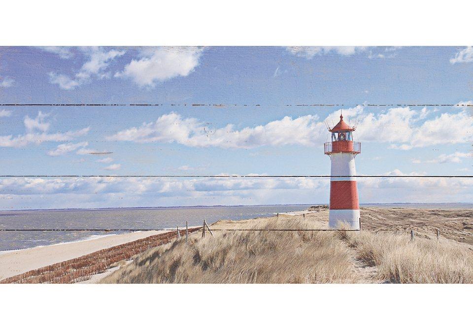 Home affaire Wandbild auf Holz »Leuchtturm Sylt«, 100/50 cm in blau