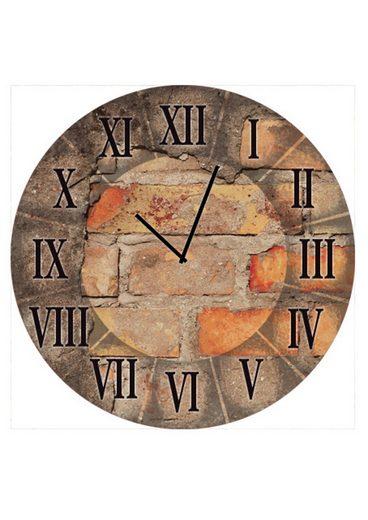 home affaire runde wanduhr auf float glas antique clock gr e 35 cm online kaufen otto. Black Bedroom Furniture Sets. Home Design Ideas