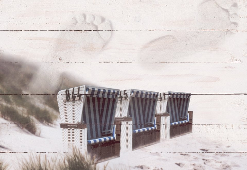 Home affaire Wandbild auf Holz »Strandkörbe«, Größe: 80 x 60 cm in natur