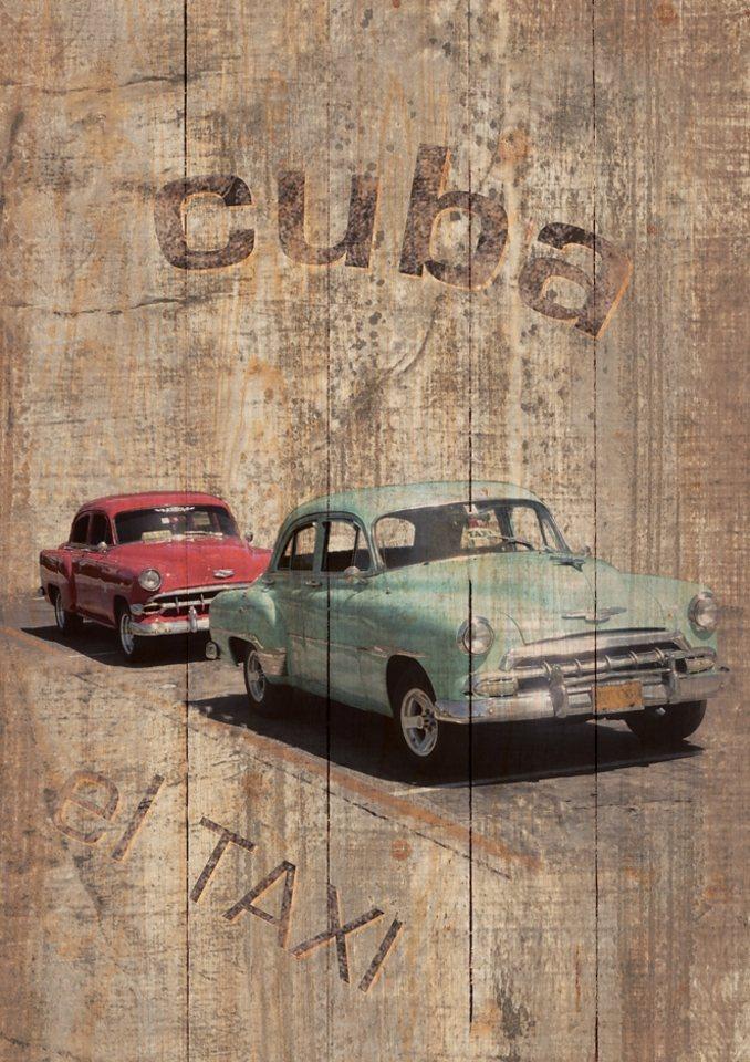 Home affaire Wandbild auf Holz »Cuba - El Taxi«, Größe: 60 x 80 cm in braun