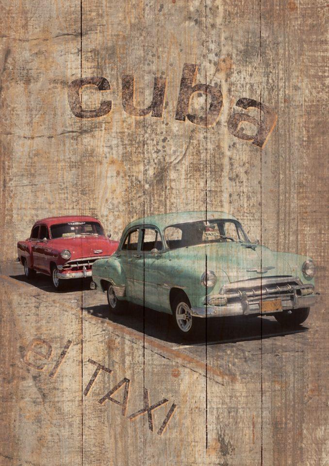 Home affaire, Holzbild, »Cuba - El Taxi«, 60/80 cm
