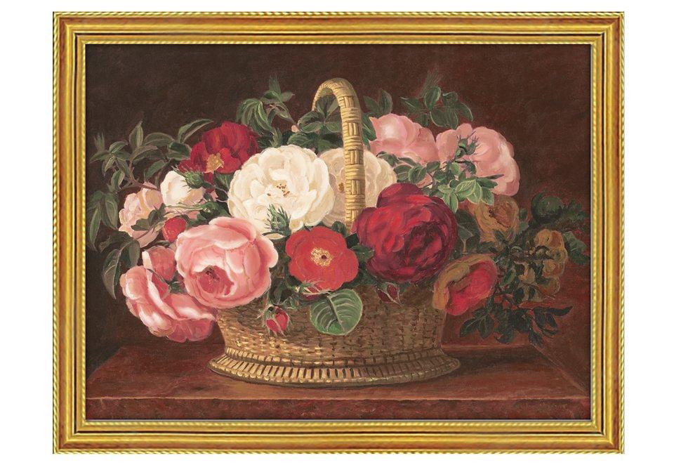 Home affaire Wandbild mit Rahmen »Rosen im Korb«, Größe: 79,6 x 59,6 cm in rot