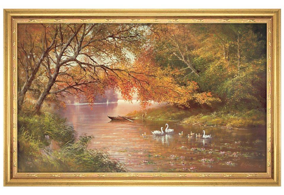 Home affaire Wandbild mit Rahmen »Swan Family II«, Größe: 113 x 73 cm in orange