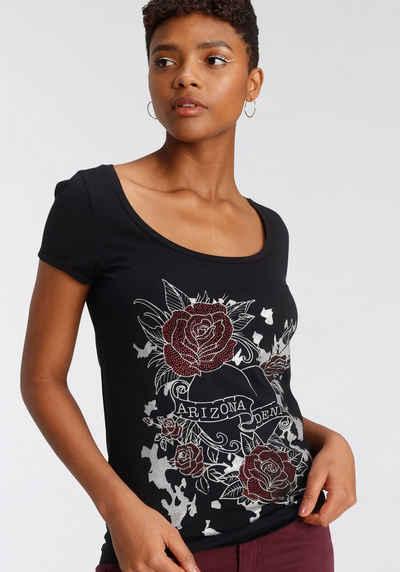 Arizona T-Shirt mit Glitzerprint und Strass-Steinchen