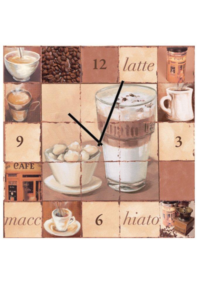 Home affaire Wanduhr auf Leinwand, »Latte Macchiato«, 30/30 cm in braun