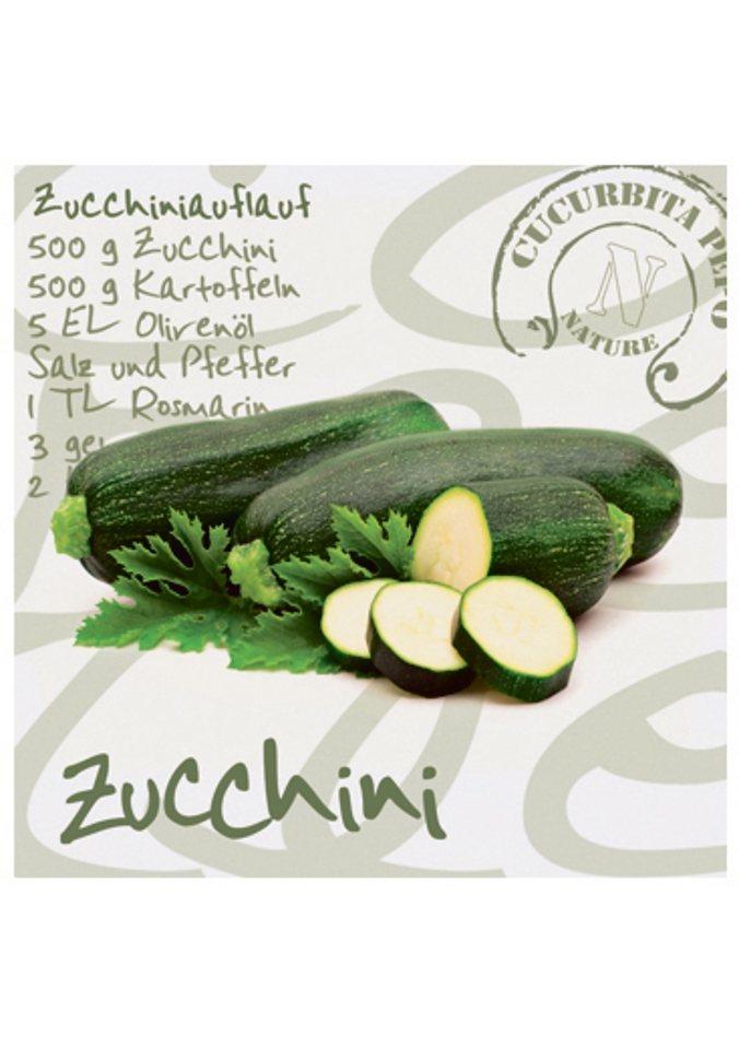 Home affaire Glasbild »Zucchini«, Größe: 30/30 cm in Zucchini