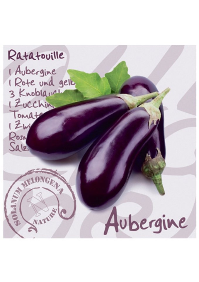 Home affaire Glasbild »Aubergine«, Größe: 30 x 30 cm in Aubergine