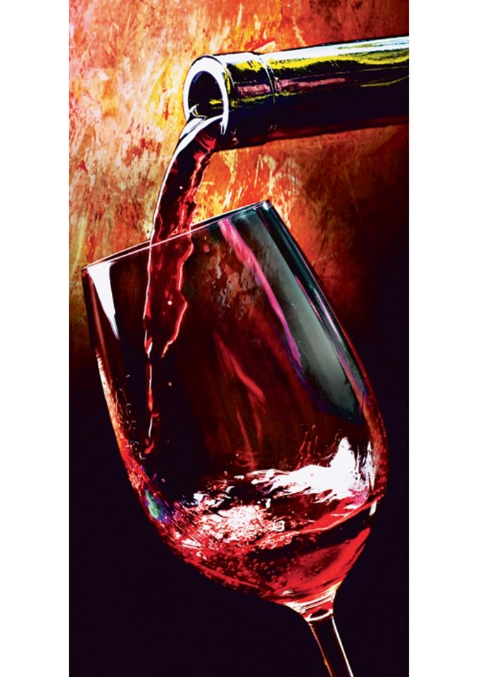 Home affaire Glasbild »Wine«, Größe: 30 x 60 cm in rot