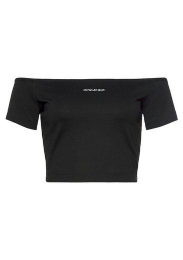Calvin Klein Jeans Shirttop »MILANO BARDOT TOP« mit Bardot-Ausschnitt & Calvin Klein Logo-Schriftzug