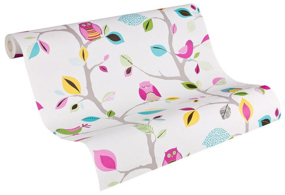 Papiertapete Livingwalls Mustertapete Colourful Owl Online