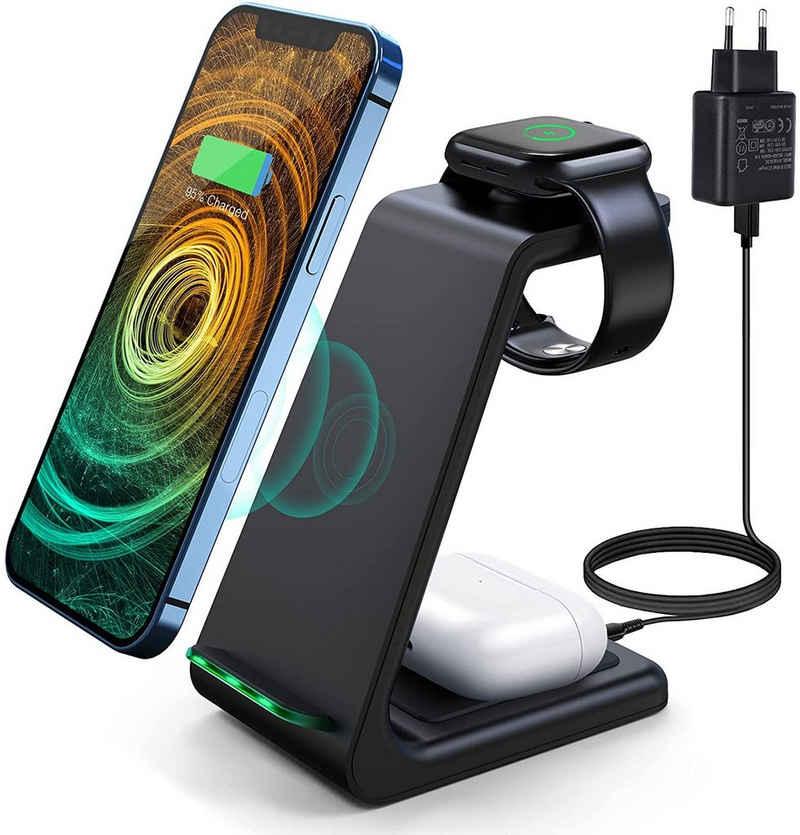 vokarala Akku-Ladestation (3-tlg., Induktive Ladestation Dockingstation, 3 in 1 Wireless Charger 10W Qi Ladestation Kompatibel mit Samsung S20/ S20 +/S10 Plus/S10E/S9/Note 10/10E/9/9+,Apple Watch 5/4/3/2/1)