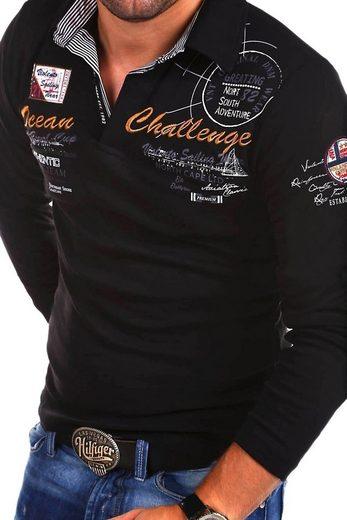 behype Poloshirt »CHALLENGE L/S« mit langen Ärmeln