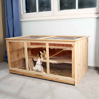 Mucola Kleintierkäfig »Kleintierkäfig Nagerkäfig Hamsterkäfig Mäusekäfig Villa Käfig Rattenkäfig Holz«, 117 x 63 x 58 cm