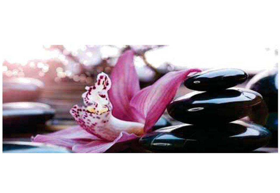 Home affaire Glasbild »Blüte & Steine I«, Größe: 125 x 49 cm in lila