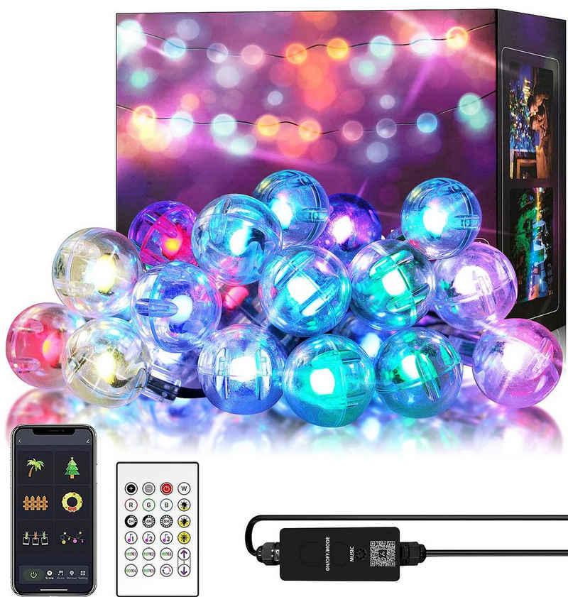 Oneid LED-Lichterkette »Intelligente Kugellichterkette 5 Meter 25 Lampenperlen, APP, 24-Tasten-Fernbedienung Lichteffekt, geeignet für Zuhause, Party, Weihnachten, Hochzeit, Gartendekoration«