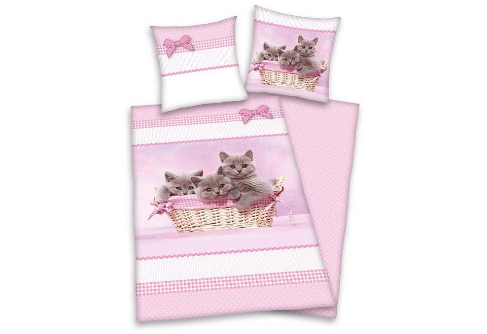 Wendebettwäsche, Young Collection, »Katzen«, für Katzenfreunde in rosa