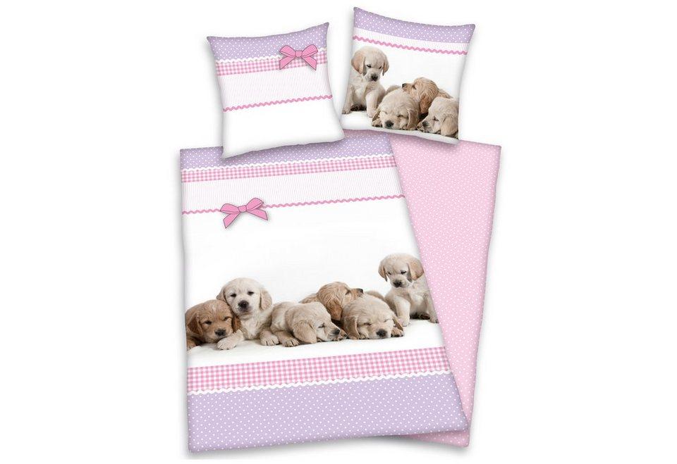 Wendebettwäsche, Young Collection, »Hunde«, für Hundefreunde in rosa
