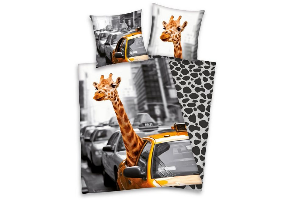 Wendebettwäsche, Young Collection, »New York Safari«, mit Giraffe in grau