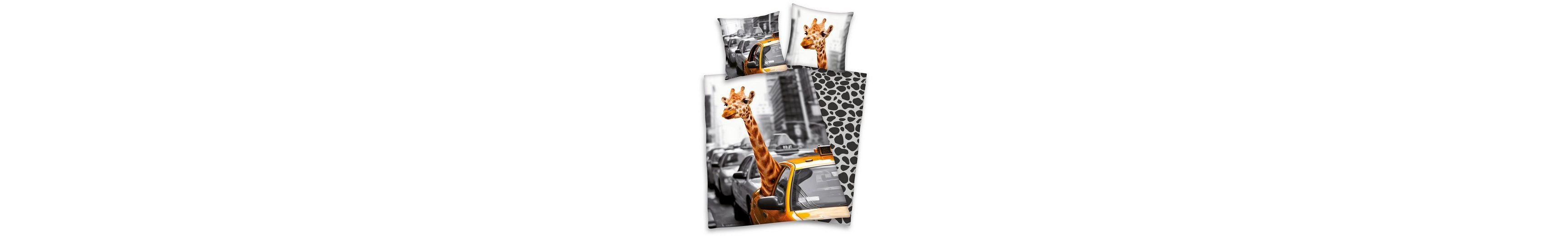 Wendebettwäsche, Young Collection, »New York Safari«, mit Giraffe
