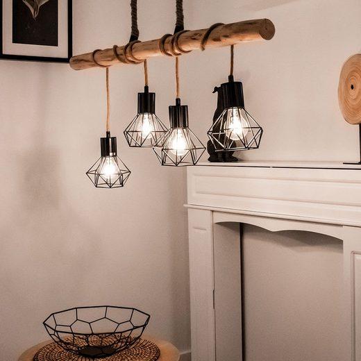 etc-shop Hängeleuchte, VINTAGE Pendel Decken Lampe Holz Balken Ess Zimmer Beleuchtung Gitter Hänge Leuchte schwarz