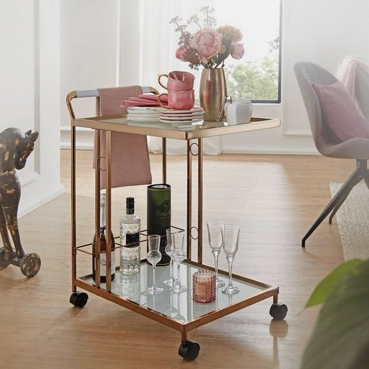FINEBUY Servierwagen »FB52948«, Design Servierwagen Gold 67x80x45 cm Mobiler Beistelltisch Speisewagen mit Glasplatte Küchenwagen Milchglas Teewagen Mini Bar auf Rollen