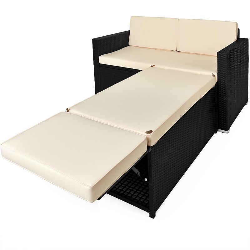 Deuba Loungeset, Polyrattan Lounge Ottomane Stauraum Klappbare Stütze Dicke Auflage 125x70x77 cm Garten Gartenmöbel Set Schwarz