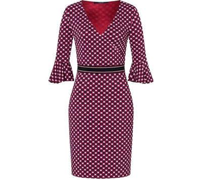 Laurèl Midikleid »Laurél Midi-Kleid anliegendes Damen 3/4-Ärmel-Kleid mit Volants und Retromuster V-Ausschnitt Kleid Bunt«