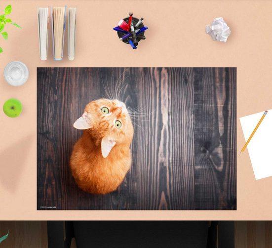 cover-your-desk.de Schreibtischaufsatz »Schreibtischunterlage für Kinder – Orange Katze – 60 x 40 cm – aus hochwertigem Vinyl«, (1-St)