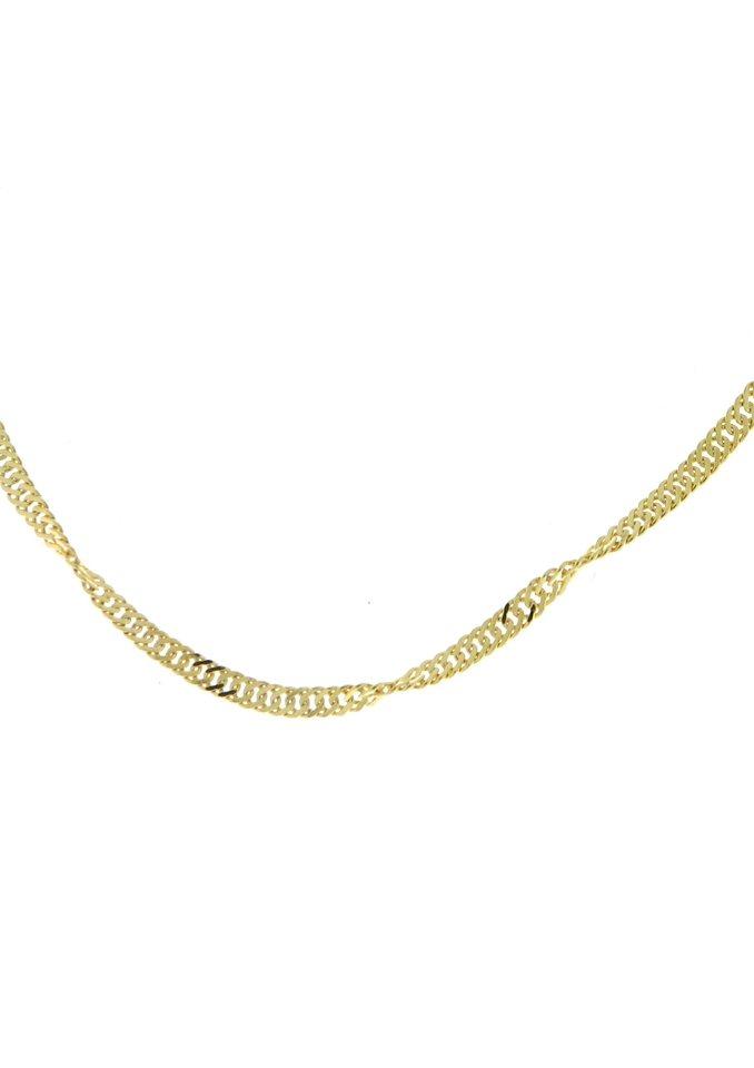 firetti Halsschmuck: Halskette / Collierkettchen in Singapurkettengliederung, 2-fach diamantiert in Gelbgold 375
