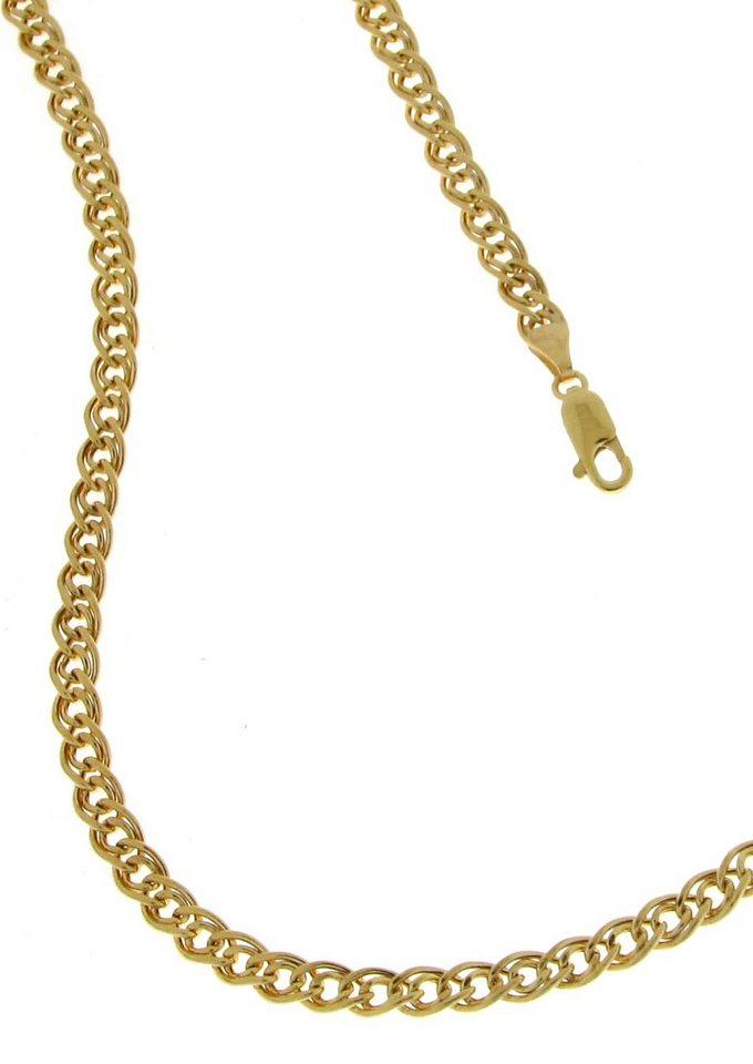 firetti Halsschmuck: Halskette in Doppel-Panzerkettengliederung, 2-fach diamantiert in Gelbgold 375