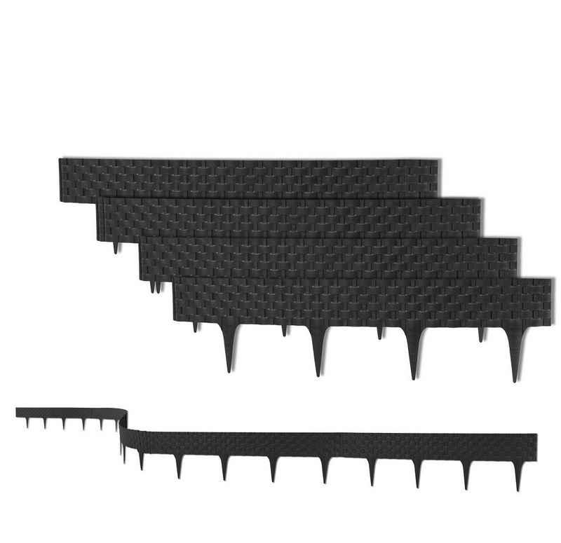 BigDean Rasenkante »3,2 m mit 4 Elemente á 81 cm − Biegbarer Kunststoff in Rattan−Design − Beeteinfassung, Beetumrandung, Palisaden − 20 cm hoch«